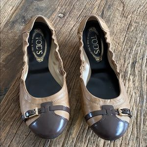Tod's Brown Leather Buckle Toe Ballerina Flats
